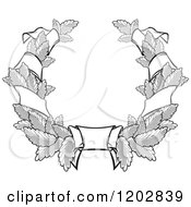 Clipart Of A Grayscale Leaf And Ribbon Wreath Coat Of Arms 2 Royalty Free Vector Illustration
