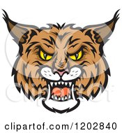 Clipart Of A Hissing Bobcat Face Royalty Free Vector Illustration