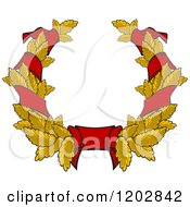 Clipart Of A Gold Leaf And Red Ribbon Wreath Coat Of Arms 2 Royalty Free Vector Illustration