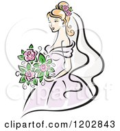 Beautiful Blond Bride In A Pastel Pink Dress Holding Her Flower Bouquet