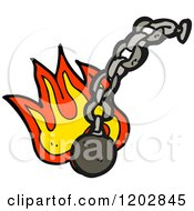 Poster, Art Print Of Flaming Ball And Chain