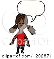 Cartoon Of An African American Girl Speaking Royalty Free Vector Illustration