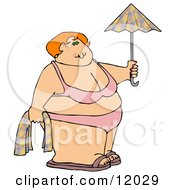 Fat Woman In A Bikini On The Beach Holding A Towel And Umbrella Cartoon Clipart
