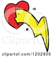 Cartoon Of A Valentine Heart With Lightning Royalty Free Vector Illustration by lineartestpilot