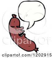 Cartoon Of A Speaking Sausage Royalty Free Vector Illustration by lineartestpilot