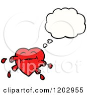 Cartoon Of A Bloody Heart Thinking Royalty Free Vector Illustration