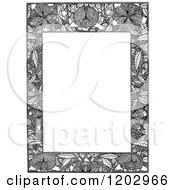 Clipart Of A Vintage Black And White Floral Page Border 5 Royalty Free Vector Illustration by Prawny Vintage