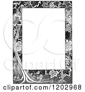 Clipart Of A Vintage Black And White Floral Grape Page Border Royalty Free Vector Illustration by Prawny Vintage