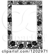 Vintage Black And White Floral Poppy Page Border