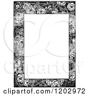 Clipart Of A Vintage Black And White Floral Rose Page Border Royalty Free Vector Illustration