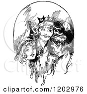 Clipart Of Vintage Black And White Lost Princess Of Oz Women Royalty Free Vector Illustration by Prawny Vintage