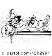 Clipart Of A Vintage Black And White Oz Hen And Scarecrow Royalty Free Vector Illustration by Prawny Vintage