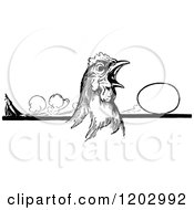 Clipart Of A Vintage Black And White Oz Hen Royalty Free Vector Illustration by Prawny Vintage