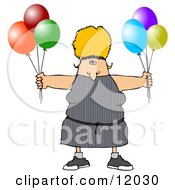 Blond Woman Holding Colorful Party Balloons Cartoon Clipart by Dennis Cox