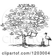 Clipart Of A Vintage Black And White Stork And Baby Tree Royalty Free Vector Illustration