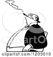 Cartoon Of A Vintage Black And White Man Smoking A Cigar Royalty Free Vector Clipart