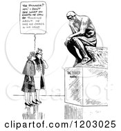 Cartoon Of A Vintage Black And White Couple And The Thinker Statue Royalty Free Vector Clipart