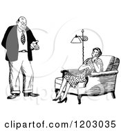 Cartoon Of A Vintage Black And White Couple The Wife Unimpressed Royalty Free Vector Clipart by Prawny Vintage