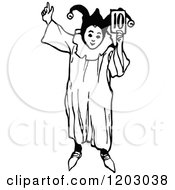 Clipart Of A Vintage Black And White Jester Boy Royalty Free Vector Illustration by Prawny Vintage