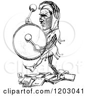 Cartoon Of A Vintage Black And White Drumming Jester Royalty Free Vector Clipart by Prawny Vintage