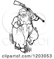Clipart Of A Vintage Black And White Old Man With A Gun Royalty Free Vector Illustration by Prawny Vintage
