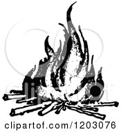 Clipart Of A Vintage Black And White Camp Fire Royalty Free Vector Illustration by Prawny Vintage