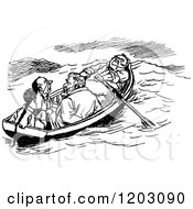 Clipart Of A Vintage Black And White Boat With Four Men Royalty Free Vector Illustration