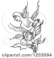Clipart Of A Vintage Black And White Burning A Heretic Royalty Free Vector Illustration