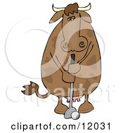 Brown Cow Putting A Golf Ball Cartoon Clipart