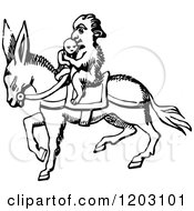 Clipart Of A Vintage Black And White Monkey On A Donkey Royalty Free Vector Illustration by Prawny Vintage