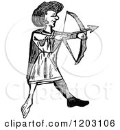 Clipart Of A Vintage Black And White Welsh Archer Royalty Free Vector Illustration