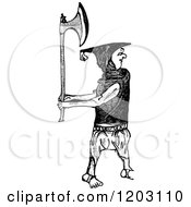 Clipart Of A Vintage Black And White Irishman With An Axe Royalty Free Vector Illustration