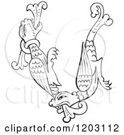 Clipart Of A Vintage Black And White Anglo Saxon Dragon Design Royalty Free Vector Illustration by Prawny Vintage