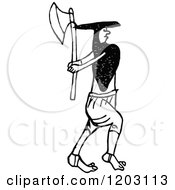 Clipart Of A Vintage Black And White Irish Man And Axe Royalty Free Vector Illustration