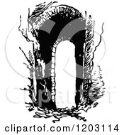 Clipart Of A Vintage Black And White Arch Royalty Free Vector Illustration
