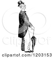 Cartoon Of A Vintage Black And White Old Man With An Umbrella Royalty Free Vector Clipart by Prawny Vintage
