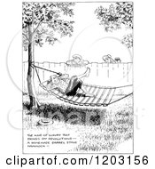 Cartoon Of A Vintage Black And White Boy Hanging Out In A Hammock Royalty Free Vector Clipart