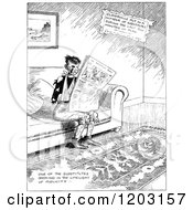 Cartoon Of A Vintage Black And White Injured Boy Reading A Newspaper Royalty Free Vector Clipart by Prawny Vintage