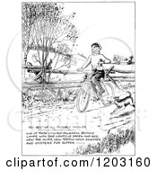 Cartoon Of A Vintage Black And White Dog Running By A Boy On A Bike Royalty Free Vector Clipart by Prawny Vintage