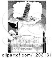 Cartoon Of A Vintage Black And White Boy Dreaming Of The Tower Of Pisa Falling On Him Royalty Free Vector Clipart