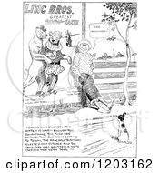 Vintage Black And White Boy And Dog By A Circus Poster