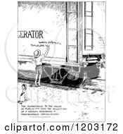 Cartoon Of A Vintage Black And White Boy Painting A Sign On A Rain Car Royalty Free Vector Clipart by Prawny Vintage