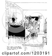 Cartoon Of A Vintage Black And White Boy Sleeping With All Of His Toys Royalty Free Vector Clipart