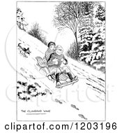 Cartoon Of A Vintage Black And White Dog Chasing Kids On A Sled Royalty Free Vector Clipart