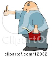 Man Holding A Gas Can And Hitch Hiking After Running Out Of Gasoline Cartoon Clipart