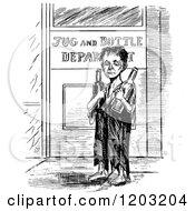 Clipart Of A Vintage Black And White Poor Boy Returning Bottles Royalty Free Vector Illustration by Prawny Vintage