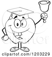 Cartoon Of A Black And White Apple Character Graduate Ringing A Bell Royalty Free Vector Clipart