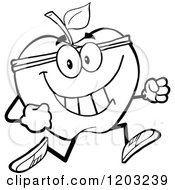Cartoon Of A Black And White Apple Character Jogging Royalty Free Vector Clipart