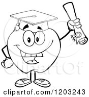Cartoon Of A Black And White Apple Character Graduate Royalty Free Vector Clipart