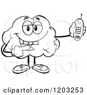 Cartoon Of A Black And White Happy Brain Mascot Holding A Cell Phone Royalty Free Vector Clipart